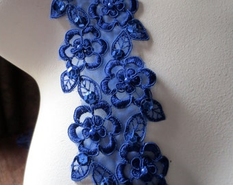 Sapphire Cobalt Blue Lace Trim with Faux Pearls for Lyrical Dance, Bridal, Costume Design BL 4001cob