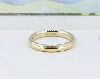 Classic Wedding Ring, 14k Yellow Gold Wedding Band, 2.8 MM Thin Gold Stacking Ring, Simple Milgrain Band, Dainty Bridal Jewelry, Size 5.5
