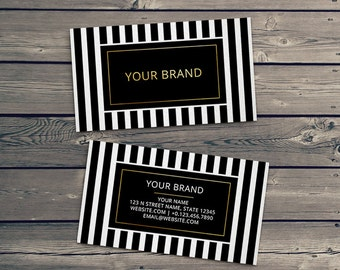Gold Foil Business Card Template - faux gold foil and striped design front and back modern business cards