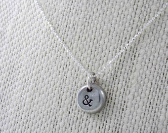 Ampersand, Ampersand Necklace, Ampersand Jewelry, Ampersand Charm, Ampersand Symbol, Pewter Necklace, Hand Stamped, Personalized Jewelry