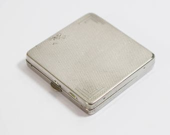 1930s Art Deco Small Square Pocket Mirror Ladies Powder Compact Silver Tone with Engine Turned Pattern