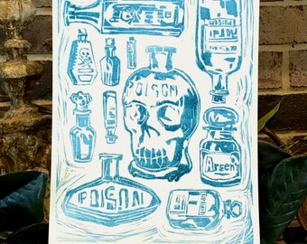 HAND PRINTED LINOCUT:Pick Your Poison--Aqua Series