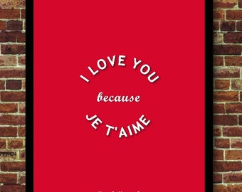 I love you because I love you poster love decoration