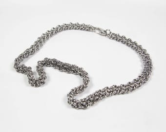 Vipera Berus Necklace, Chainmaille Necklace, Stainless Steel, Chainmail Necklace, Chain Maille Necklace, Mens Necklace, Steel Necklace