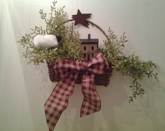 Primitive wreath with Salt Box House and Sheep