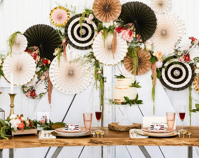 Black and White Party Decorations, Black White and Gold Decor, Botanical Party Fans, Botanical Flower Rosettes, Floral Rosettes