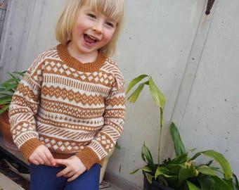 Children's Fair Isle Sweater in Merino wool and silk blended yarn