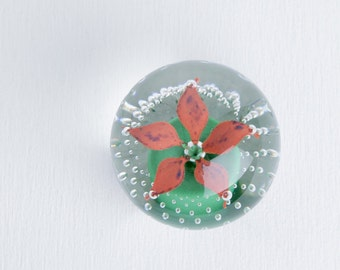 Flower paperweight etsy vintage clear glass flower paperweight wheaton village art glass orange red flower home decor and mightylinksfo