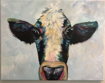 Colorful Cow painting // custom art // abstract cow wall art // large wall art // impressionistic cow