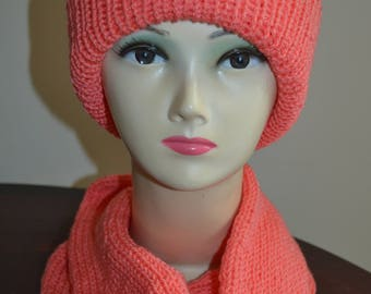 knitted set of snood scarf and beanie hat