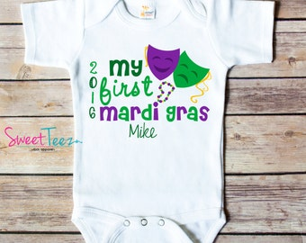 My First Mardi Gras Shirt Baby Masks Purple beads Green Bodysuit Personalized with Name and Year