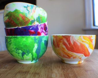 Hand-Marbled Bowls (Water Marbling) - 4 Different Patterns