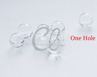 10pcs Hand Blown Hollow Glass Beads- Round Clear with One Hole on the Top 12mm (28H12)