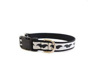 Mustache Dog Collar, Black White Collar, Plastic Buckle Closure, Trendy Moustache Collar, Style 318,