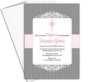 Printable baptism invitations baby girls | pink gray christening invitations | printable or printed - WLP00251
