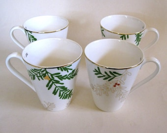 4 Coffee Tea Mugs Porcelain Lenox Merry Bright Pine And Berry Pattern New in Box