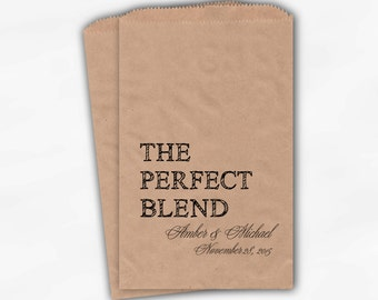 The Perfect Blend Coffee Favor Bags - Black Personalized Wedding Favor Bags with Names and Date - Custom Kraft Paper Bags (0219)