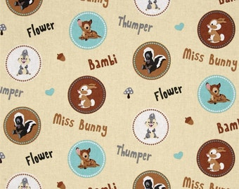 "Disney Fabric - Disney Bambi Fabric Character Badges with Flower & Thumper 100% cotton fabric by yard 36""x43"" (SC303)"