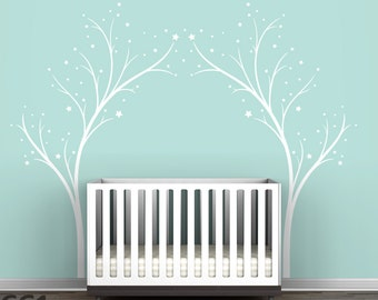 Stars Twinkle Tree Gate Wall Decal - Tree Stars Decal - Modern Kids Room Decor by LittleLion Studio