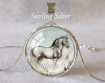 STERLING DA VINCI Horse Pendant Leonardo Da Vinci Necklace Sterling Silver Horse Jewelry Horse Necklace Da Vinci Drawing Horse Art