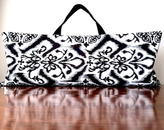 Yoga Mat Bag - Women's Black White Pilates Mat Tote - Top Loading Yoga Mat Carrier - Large Reversible Bag - Spotted Print Workout Bag