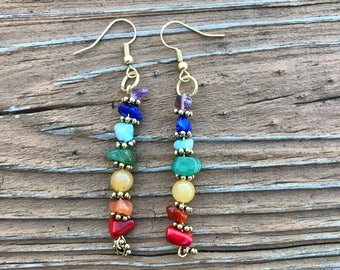 Chakra Earrings with Gold Flower Accents