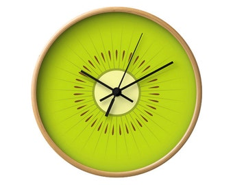 Kiwi clock kiwi wall clock fruit clock green clock green kitchen wall clock green wall clock green kitchen clock fruit clock kitchen decor