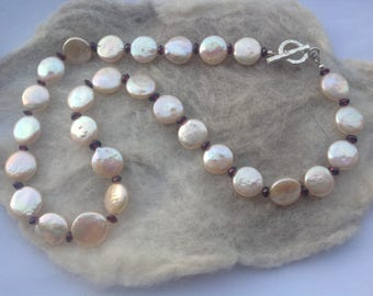 Cream/Champagne Coin Pearl/Garnet Necklace, Karen Hill Tribe Silver, Semi Precious Gemstone, Bridal Wear, June Birthstone, Gift for Her