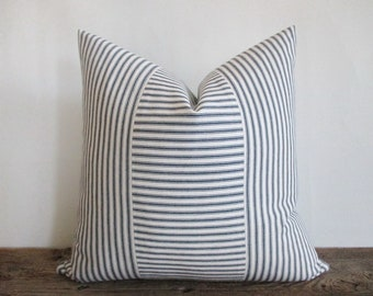 Pillow Cover Dark Navy Blue White Woven Ticking Vertical & Horizontal Stripes Zipper Rustic Farmhouse