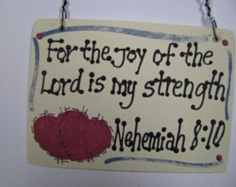 Crafts Wooden Scripture Sign For the joy of the Lord is my Strength