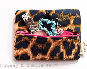 Leopard Print Mini Zip Up Pouch - For Make Up or Jewellery - Ready to ship