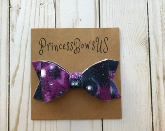 Purple Baby Headband, Baby Headbands, Nylon Headbands, Toddler Headbands, Baby Hair Bows, Galaxy Hair Bows, Baby Shower Gift, Bows, Headband