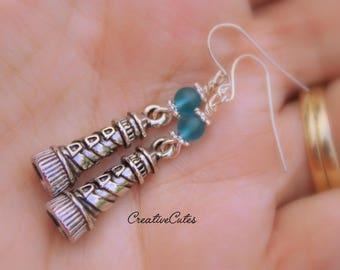 Boho Lighthouse Earring Dangles, Aqua Blue Sea Glass Beads, Antiqued Silver Light House Charms, Coastal Seaside Gift Earrings, Classic Style
