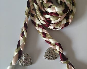 Burgundy, Blush, Sage and Ivory Handfasting Ceremony Braid- Heart Lockets- 6 or 9 feet- Wedding- Fast Shipping-Braided Together- Handfasting