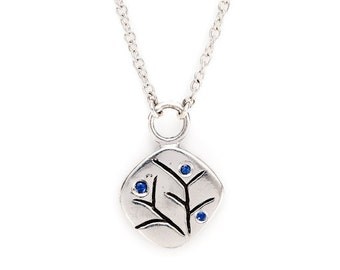 """silver pendant with sapphires. carved nature motif. """"spring blossom"""""""