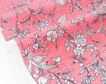 Fabric batiste lawn cotton silky fluid extra soft floral pink mottled background x 88cm