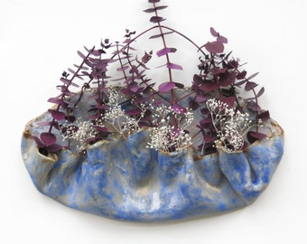 Blue Ceramic Wall Pocket Organic Clay Wall Vessel Pottery Art Wall Vase Rustic Wall Hanging