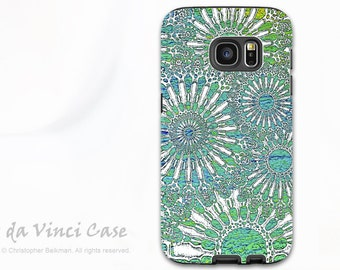 Turquoise Abstract Case for Samsung Galaxy S7 EDGE - Beautiful dual layer S 7 EDGE Case with Green Abstract Art - Ocean Lace