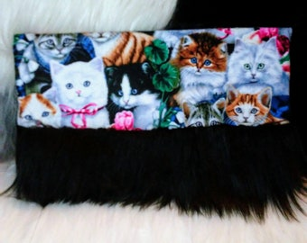 Kitty Collage Faux Fur Clutch