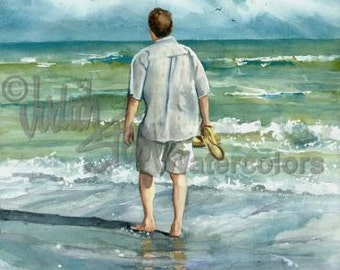 "Man Walking Beach, Seashore, White Shirt, Sandals, Seascape, Watercolor Painting Print, Wall Art, Home Decor, ""Seaside Stroll"""