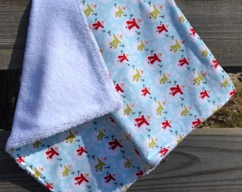 """Security Blanket - Baby Lovey - 19"""" x 18"""" Flannel and Super Plush Fabric - Shower Gift"""