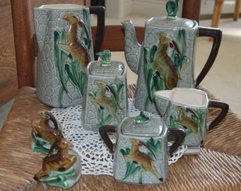 Vintage Leaping Gazelle Coffee and Tea Set, L Batlin & Son, Majolica, 1940's, Mid Century, Luncheon Set, Glazed Pottery, 10 Pieces, Man Cave