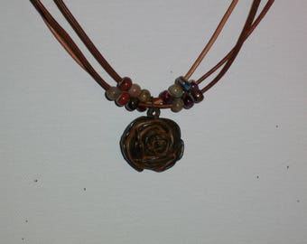 Choker Necklace Rose Rustic Brown Patina Pewter With Beads & Leather