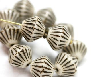 11mm Beige bicones, Brown stripes czech Glass beads, Light Beige large bicone beads, pressed czech beads - 10pc - 1506
