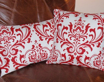 Removable Throw Pillow Covers, Lovely Handmade Red & White Damask Cushion Covers, Elegant Red Damask Accent Pillow Covers, SET of 2