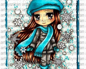Digital Stamp - Suzie Snowflakes (#252), Digi Stamp, Coloring page, Printable Line art for Card and Craft Supply