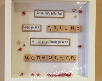 Godparent / Godmother Personalised Frame Handmade Custom Made To Order Friend Sister Godparents