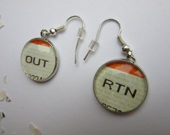 Train Ticket Out & Return Earrings