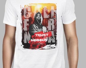 2Pac Tupac Shakur Icon Rap Hip Hop Trust Nobody Men Printed Tshirt