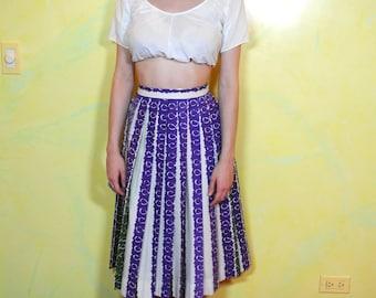 1950s Striped Pleated Midi Skirt
